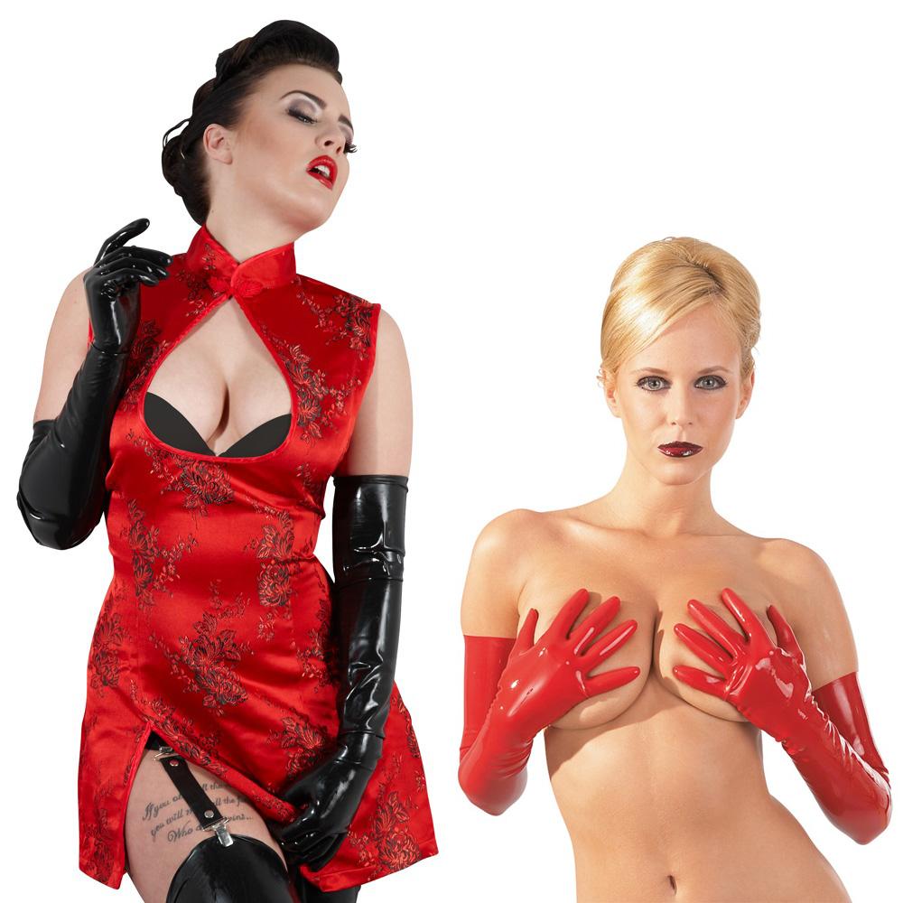 Latex-Handschuhe lang für SIE und IHN schwarz oder rot