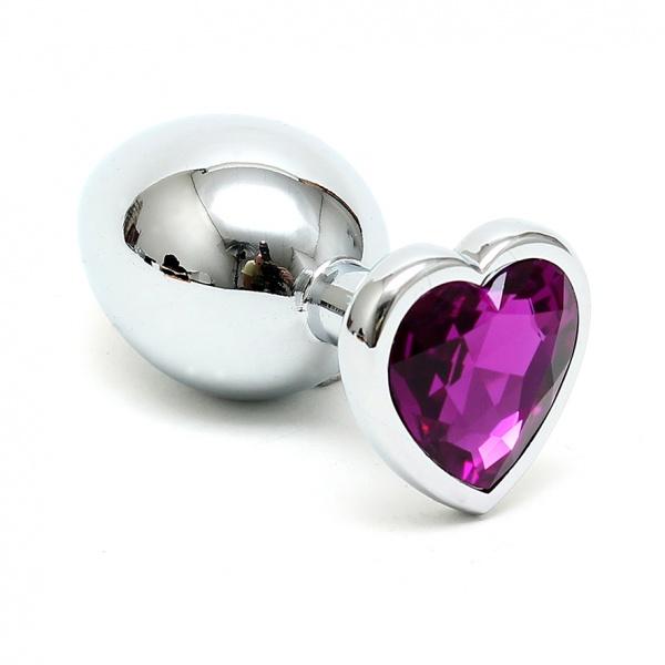 Buttplug klein mit violettem Herzkristall