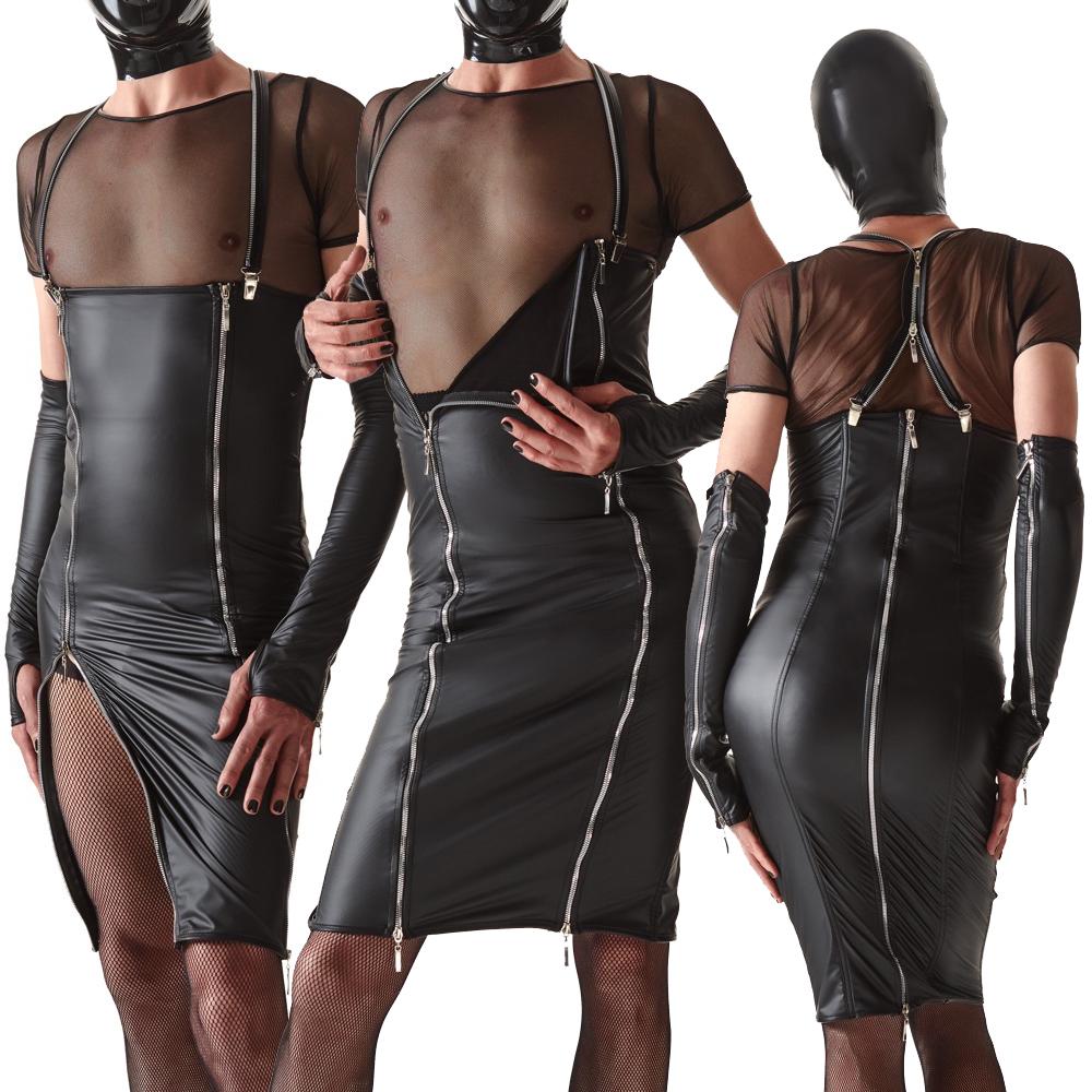 Provokantes knielanges Männer-Kleid in Lederoptik