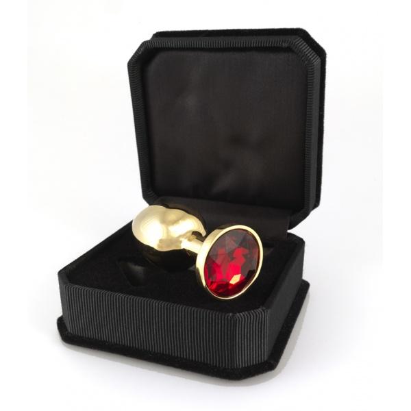 Buttplug goldfarben klein mit rotem Kristall