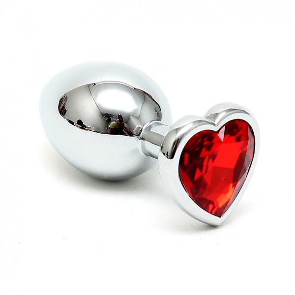 Buttplug klein mit rotem Herzkristall