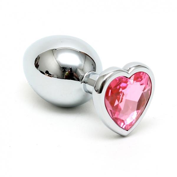 Buttplug klein mit pinkem Herzkristall