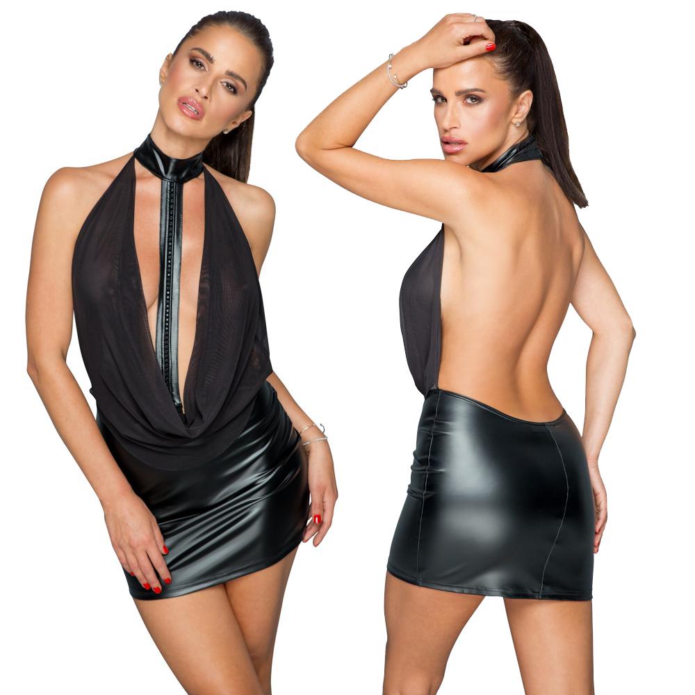 NOIR – Eng geschnittenes Minikleid im matt glänzenden Powerwetlook mit swingendem transparentem Powernet-Oberteil