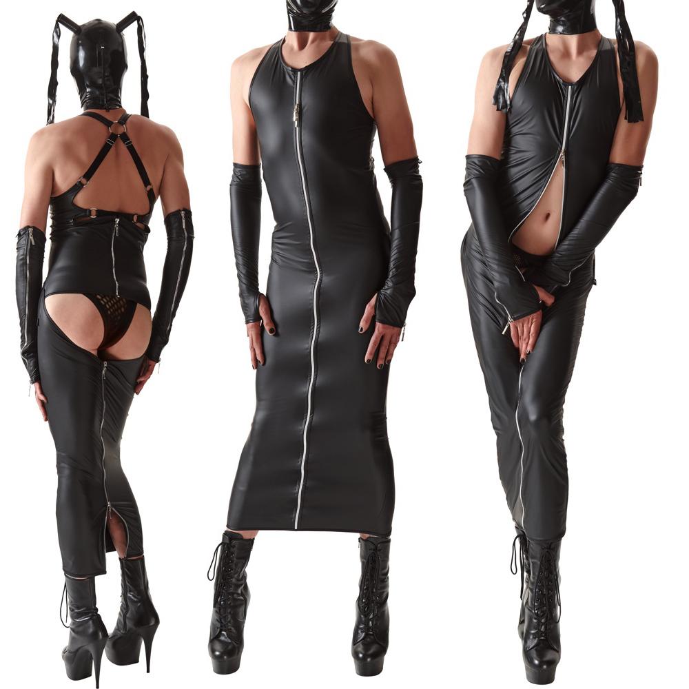 Po-freies Männer-Kleid in Maxilänge mit Reißverschluss vorne
