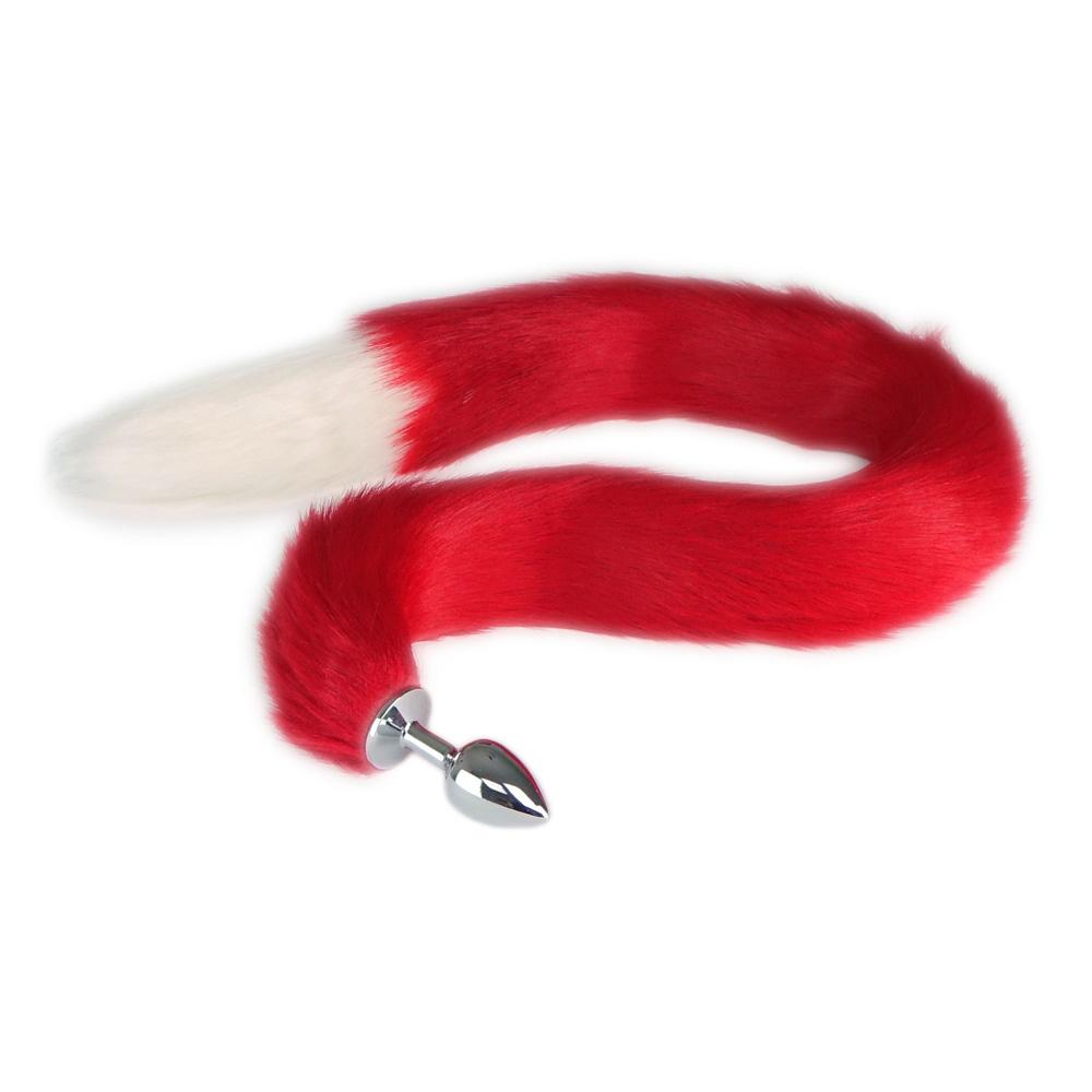 Buttplug mit rot-weißem Fuchsschwanz