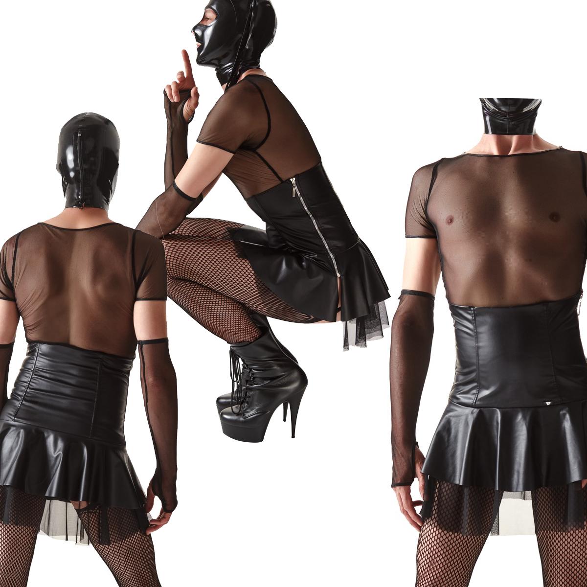 Taillenhoch geschnittener Männer-Rock in Lederoptik mit Tüll