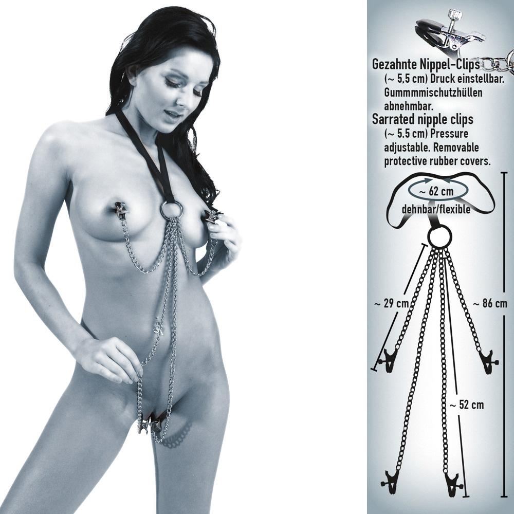 Zaumzeug für SIE mit elastischem Halsriemen, Nippel- und Schamlippenklammern