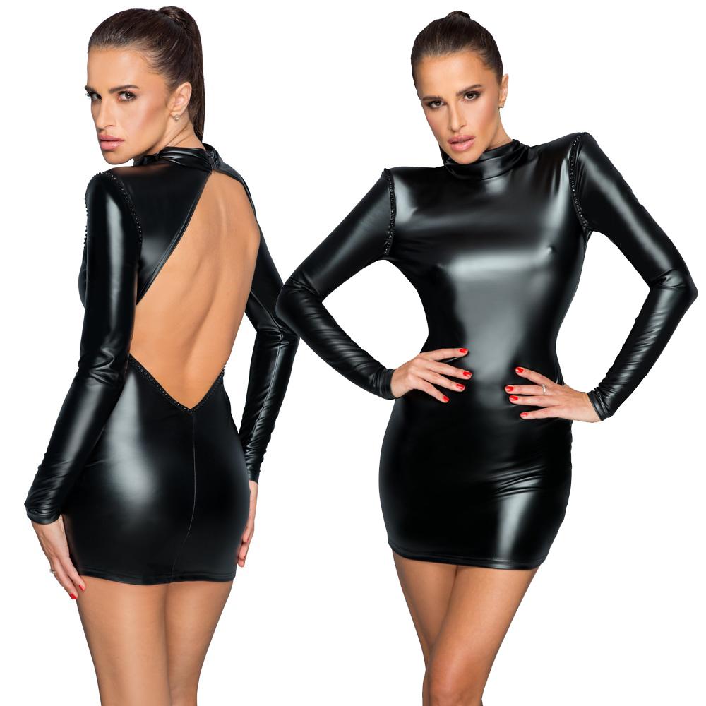 NOIR – Hochelastisches Langarm-Kleid in enger figurnaher Schnittführung im schwarzen edlen Powerwetlook