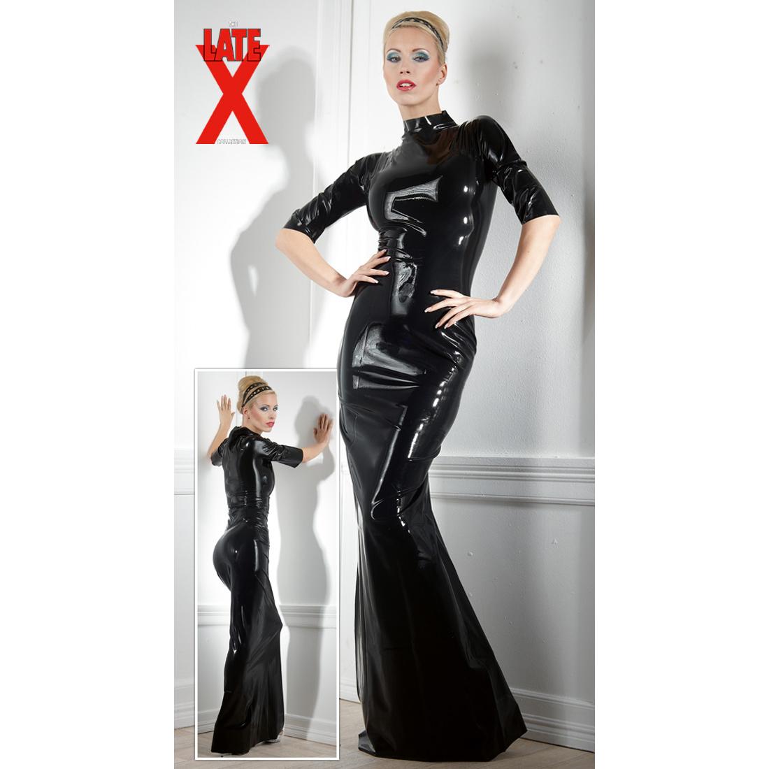 Latex-Kleid schwarz lang mit halblangen Ärmeln