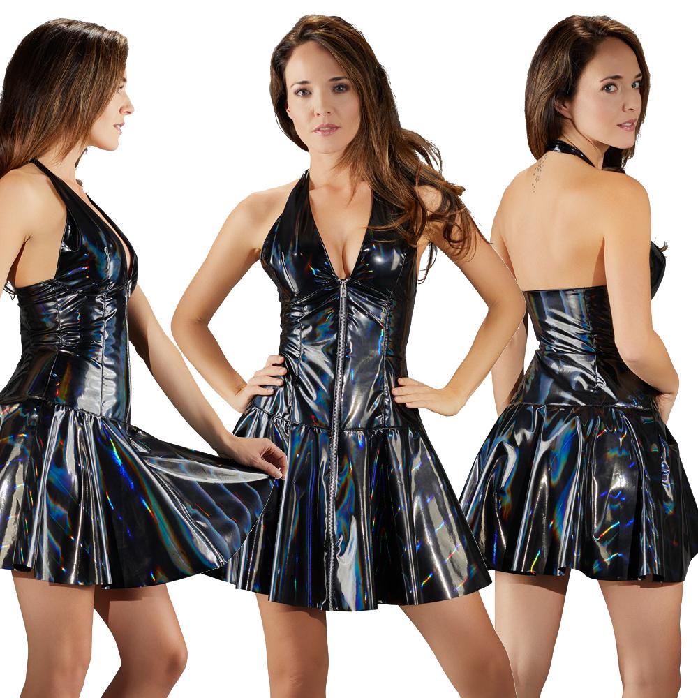 Lack-Kleid mit schillerndem Regenbogen-Effekt